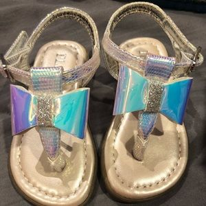 Infant size 4 silver and pink sandals